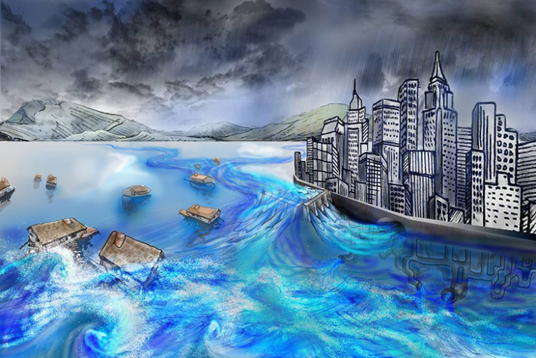 Natural and human-caused effects can combine to amplify the effects of flood conditions.