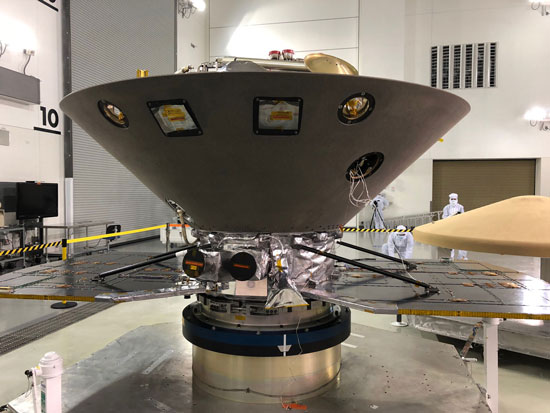 Mars InSight in a holding facility prior to launch