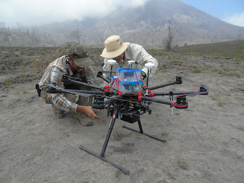 Researchers make final adjustments to drones that will measure volcano gas emissions to improve eruption forecasting science.