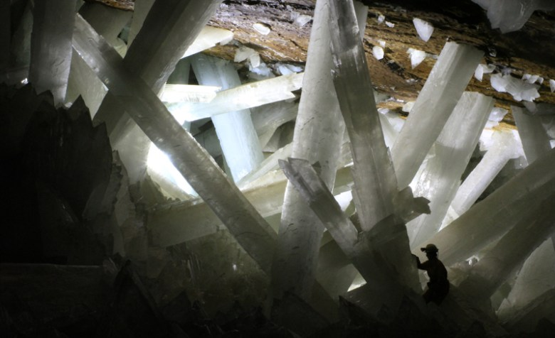 Gypsum formations in Mexico's Cave of Crystals