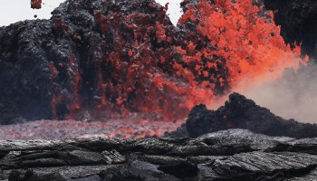 Lava bursts from a fissure on the flanks of Kīlauea volcano