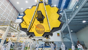 The golden primary mirror of the James Webb Space Telescope, NASA's next flagship telescope mission.