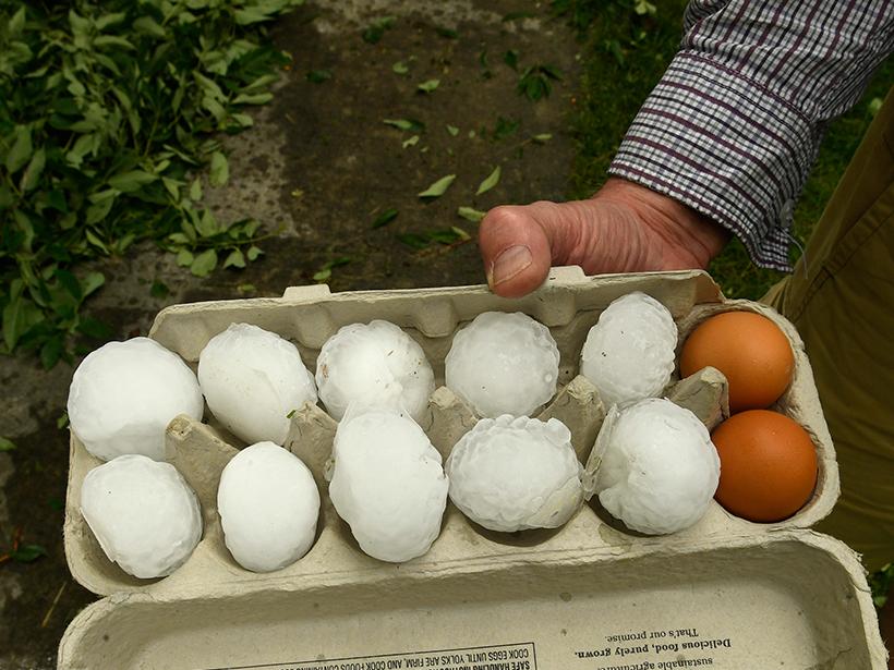 Hailstones in an egg carton