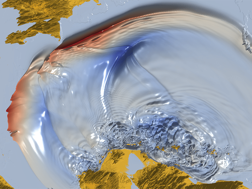 A simulated tsunami traveling northwest across the Caribbean basin, in response to a hypothetical Mw 8.9 earthquake.