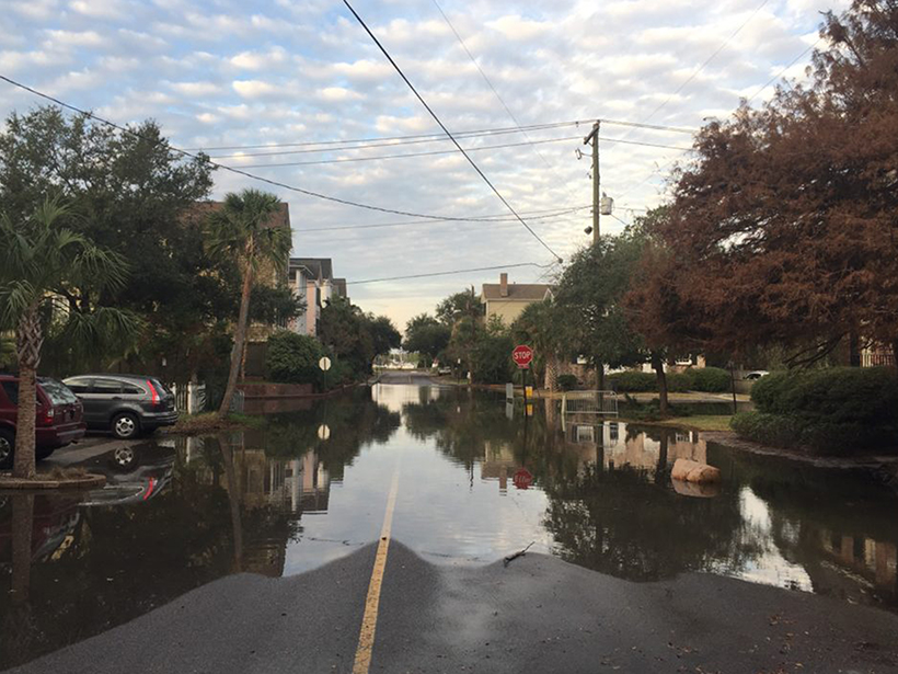 Water fills a street in Charleston, S.C., during a nuisance flood in fall 2016.