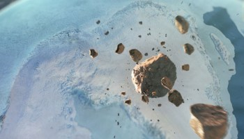 Artist's impression of asteroids about to impact Greenland