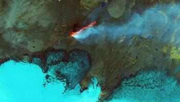 Holuhraun lava field in Iceland in September 2014