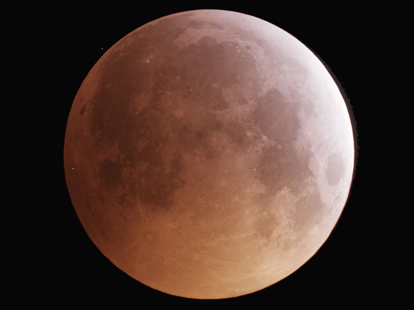 The Moon during the 21 January total lunar eclipse with a visible impact flash