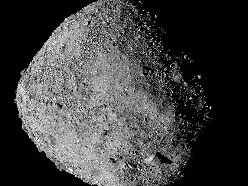 A high-resolution image of Bennu taken on approach