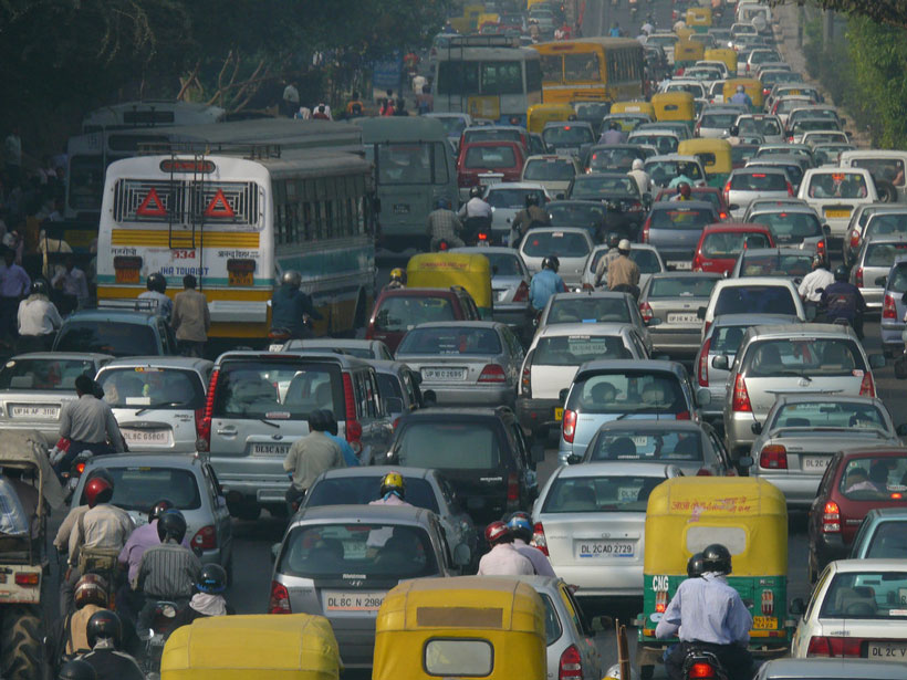 A traffic jam in Delhi, India
