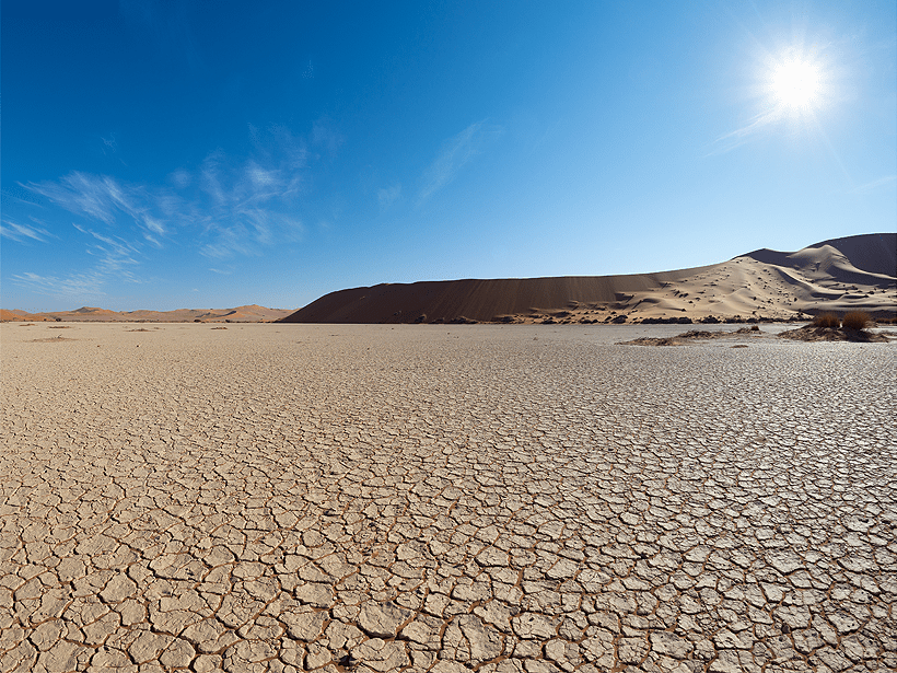 A dry drainage basin in Sossusvlei, Namibia