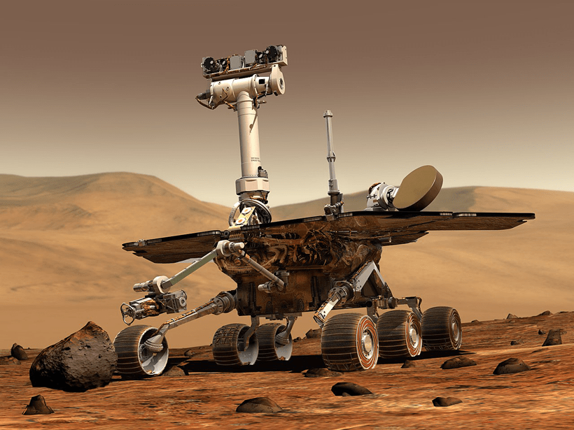 Illustration of a NASA Mars Exploration Rover on the surface of Mars