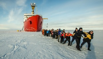An international team studying the Beaufort Gyre from their base on the CCGS Louis S. St-Laurent.