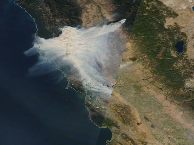 Satellite image of a fire in Northern California