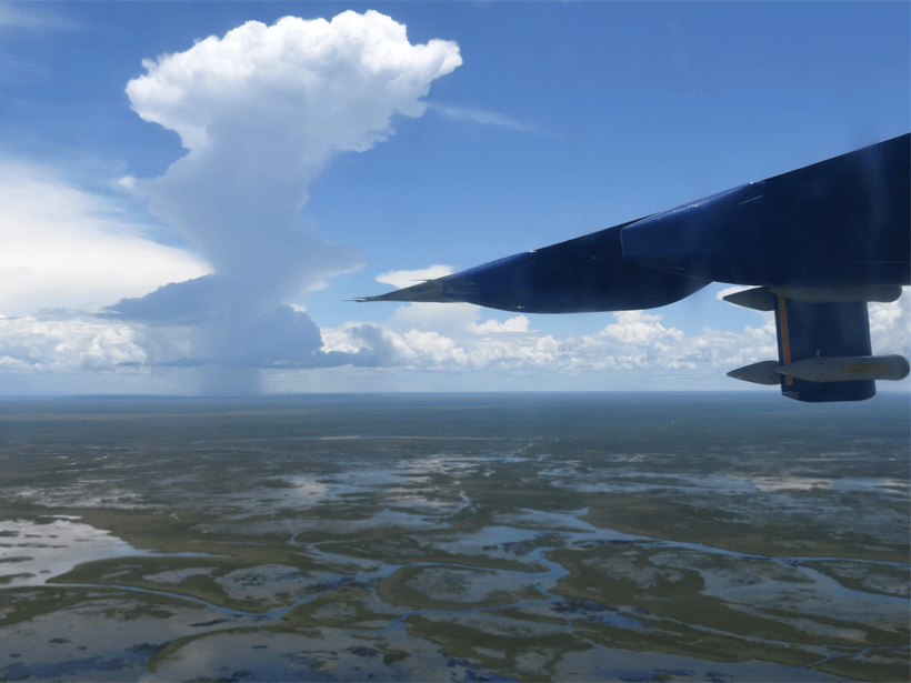 Aerial view of storm over the Bangweulu wetlands in Zambia