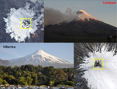 Cotopaxi and Villarrica photos and satellite imagery from NASA Earth Observatory show the sizes of their summit craters.