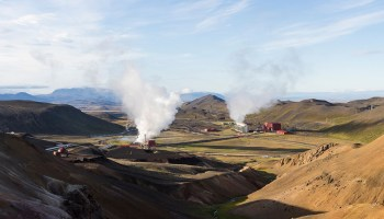 View from the north of the Krafla power plant in Iceland's Krafla caldera.