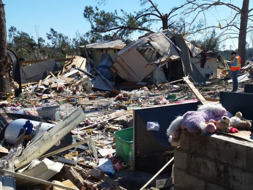A mobile home park devastated by tornado damage
