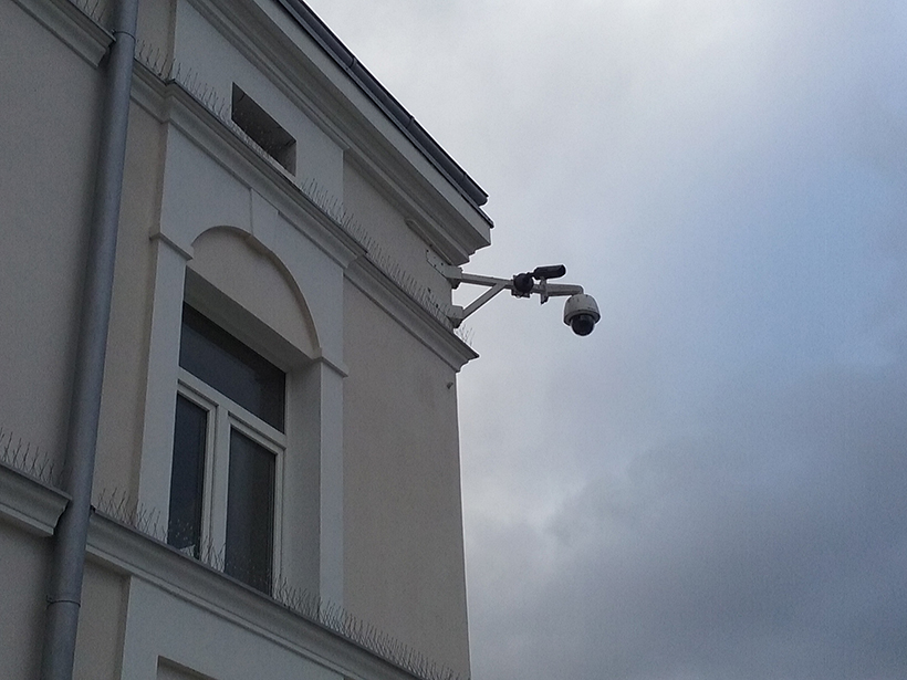 Photo of a CCTV camera on a building