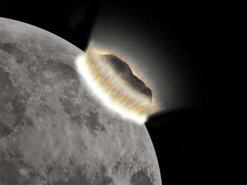 Illustration of an asteroid impact on the Moon