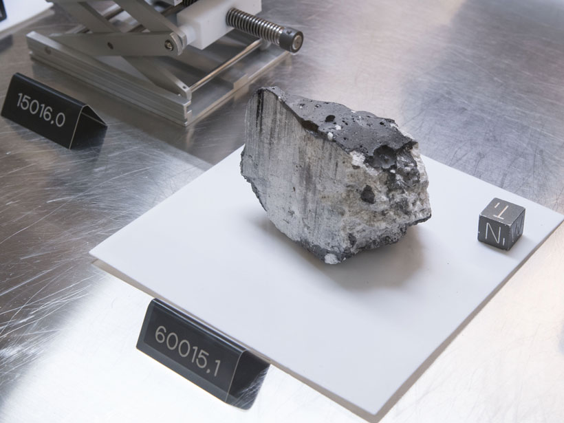 Photo of a shiny rock labeled 60015.1