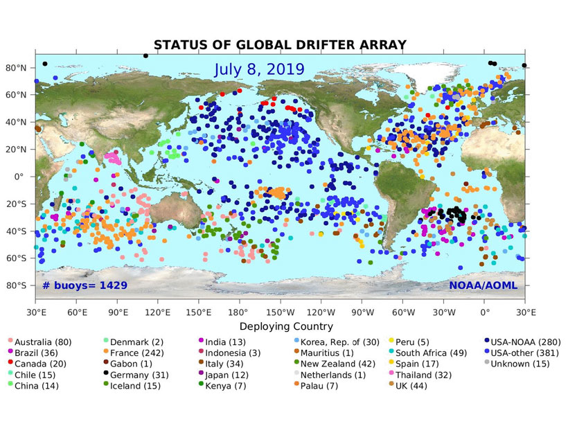 Diagram showing the locations and deploying countries of more than 1,400 sea surface temperature-measuring ocean drifters