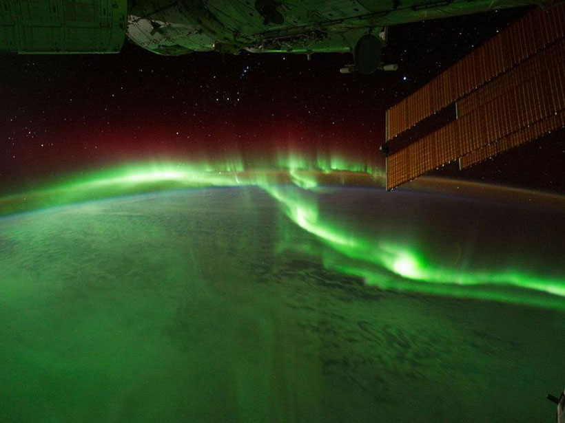 An aurora as seen from the International Space Station.