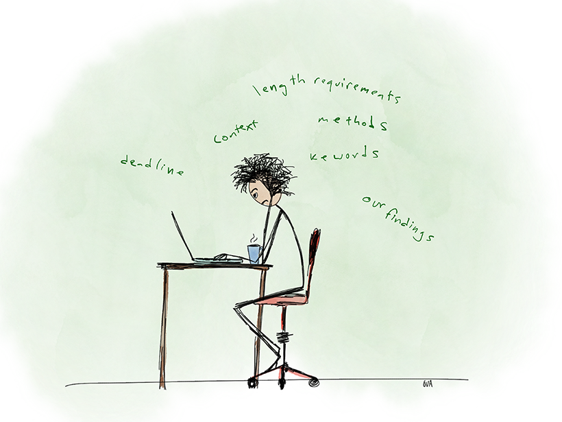 Drawing of a struggling writer