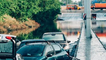 Torrential rains flooded streets in Denmark in 2017, stranding and damaging vehicles