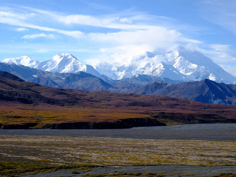 An image of Denali, the highest mountain in North America, covered in snow.