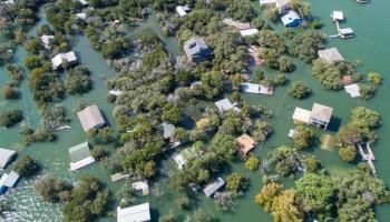 Aerial photo of a flooded neighborhood