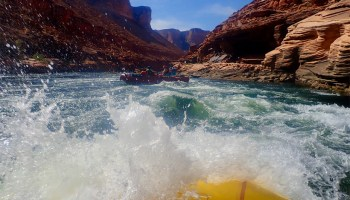 A raft's eye view of rapids on the Colorado River in the Grand Canyon