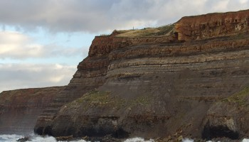 A seaside cliff near the town of Whitby in the United Kingdom