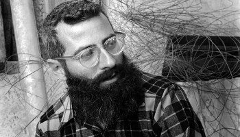 Black-and-white photo of geologist Clyde Wahrhaftig, looking like a beatnik