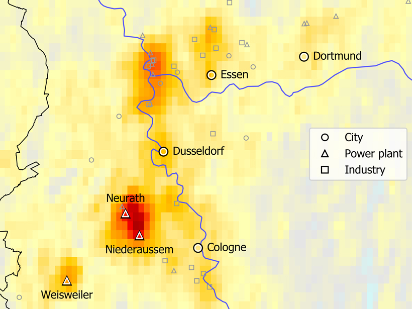 Orange and red shading on map denotes higher levels of nitrogen oxide clusters around lignite power plants in Germany.