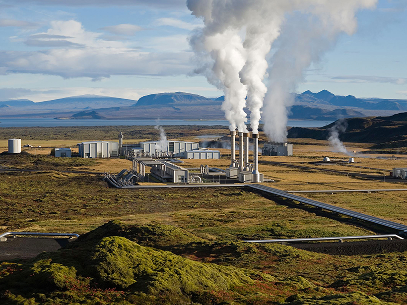 The Nesjavellir Geothermal Power Plant seen here is located in southwest Iceland.