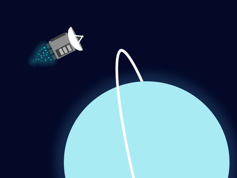 An illustration of a spacecraft flying over Uranus