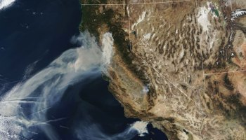 Smoke plumes spread west from the Camp Fire in Northern California and the Hill and Woolsey Fires in Southern California on 9 November 2018, as seen in this image captured by the Moderate Resolution Imaging Spectroradiometer (MODIS) on NASA's Terra satellite.
