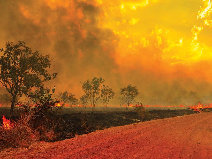 A wildfire burns in the Kimberley region of Western Australia.