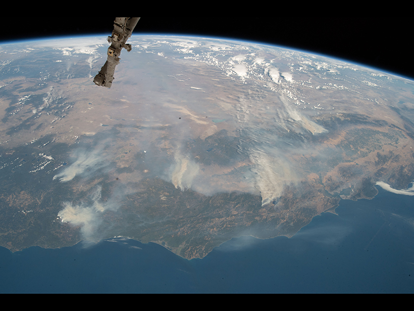 Smoke from several California fires is seen from the International Space Station in August of 2018.