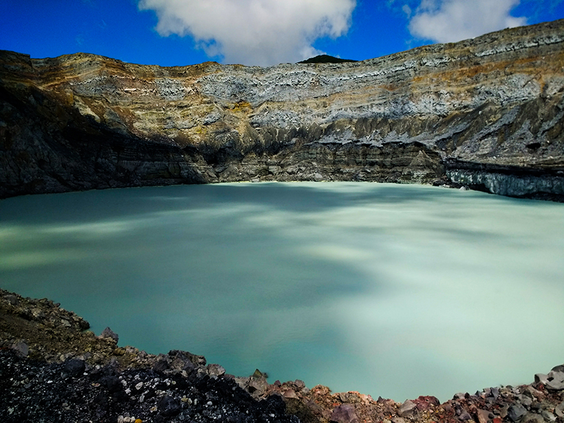 The hyperacidic lake inside the crater of Poás volcano in Costa Rica