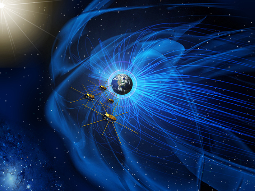 Artist's illustration of the Magnetospheric Multiscale mission spacecraft traveling through Earth's magnetic field