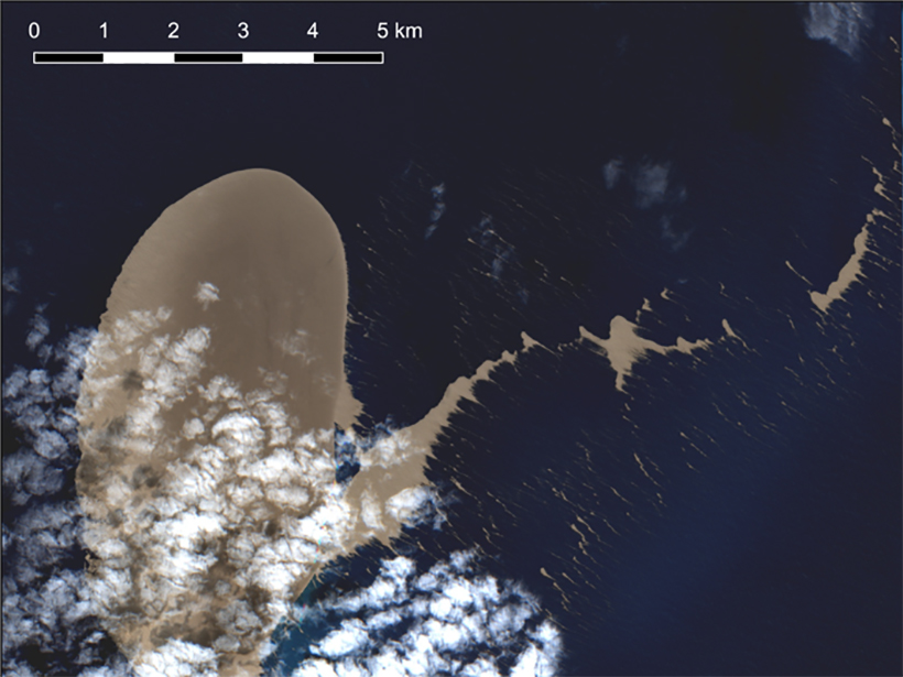 A satellite image showing a pumice raft floating on the ocean surface near Fiji and Tonga on 21 August 2019