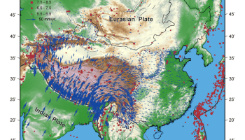 Map of China and surroundings showing GPS-measured crustal velocities and large earthquakes