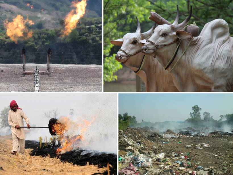 Different sources of methane emissions: fossil fuel industries, ruminant farm animals, landfills, and biomass burning