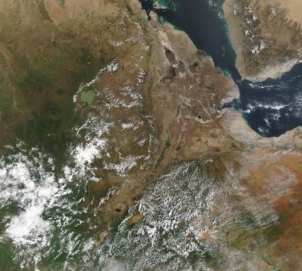 Satellite image of eastern Africa, with the Red Sea and the Gulf of Aden to the east