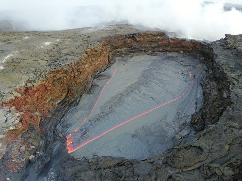 Drone image of the lava lake at Erta Ale