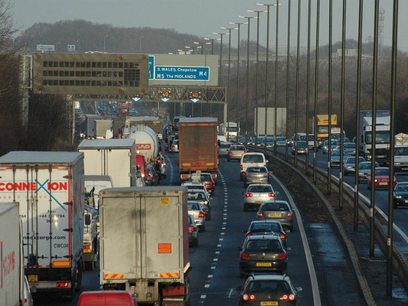 Heavy vehicle traffic near Chepstow, Wales