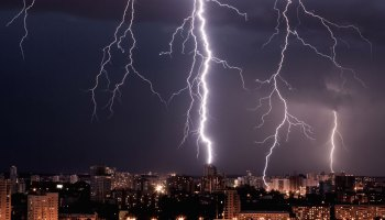 Lightning flashes over a city