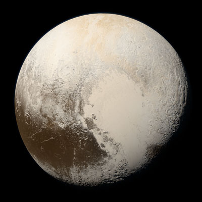 Satellite image of Pluto and its telltale heart